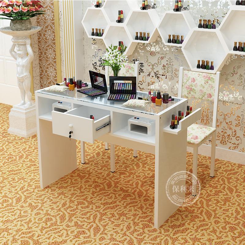 约美甲台子美甲店指甲桌彩甲桌1.2米单双人双层钢化玻璃面