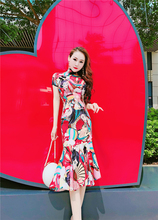 气质名媛夏季新款短袖改良旗袍鱼尾中长裙复古民族图案印花连衣裙