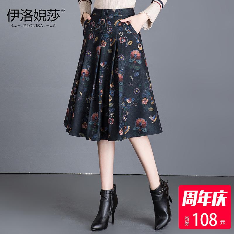 韩版复古毛呢蓬蓬裙