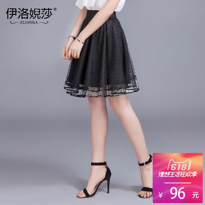 夏季蕾丝半身裙中裙波点网纱半身裙蓬蓬裙中长款A字裙女裙子春季