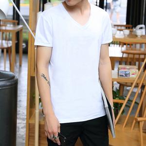 短袖T恤男士V领青少年学生韩版修身纯色休闲半袖打底汗衫9.9批发