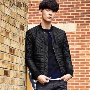 太平鸟男装 冬季男士轻薄款棒球领外套修身韩版时尚棉衣BWAB64511