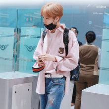 2019 spring new idol practice student Bi Wenyi with the paragraph loose embroidered shirt oversize clothing bf wind men and women