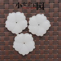 Diameter 34MM ancient wind palace flower hairpin DIY jewelry accessories jade pendant Afghan white jade flower Bauhinia petals