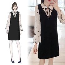 大码秋装女胖mm2018韩版新款波点小清新连衣裙显瘦遮肚子假两件套