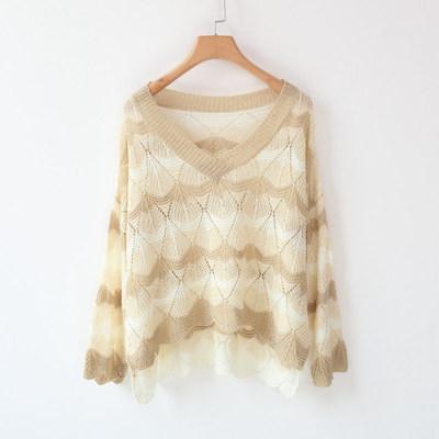 冰丝针织衫女chic罩衫薄款长袖鱼网衫镂空条纹宽松毛衣套头防晒
