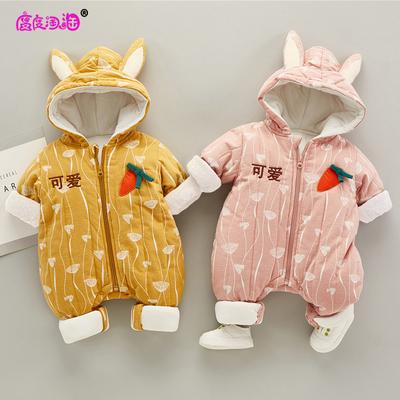 宝宝棉衣女0-2岁冬季男婴儿外穿连体爬服反季超萌洋气可爱加厚潮