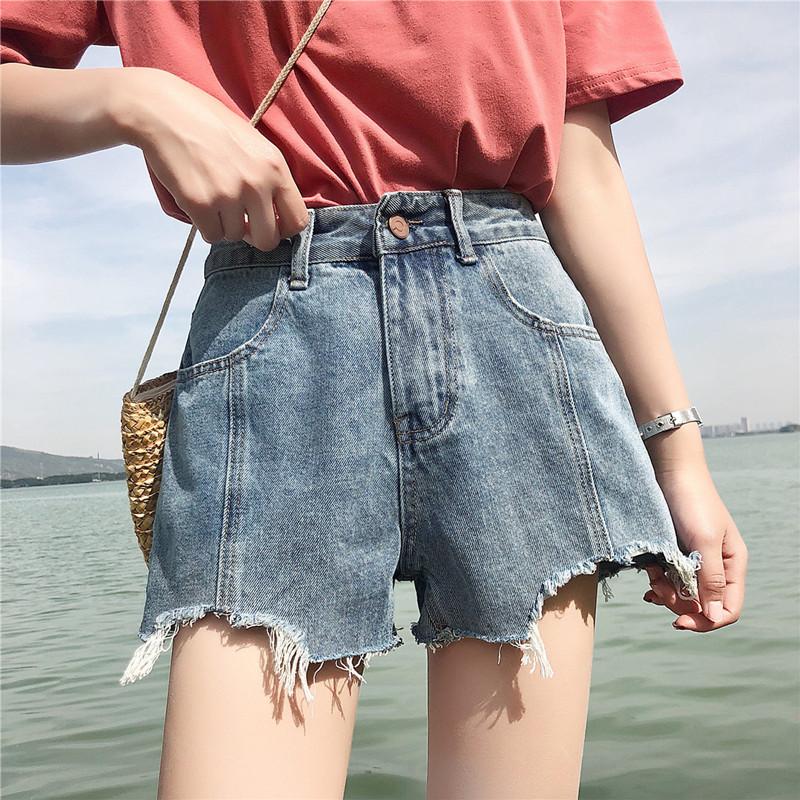 夏季2018新款韩版ulzzang宽松百搭高腰牛仔短裤女学生直筒热裤潮