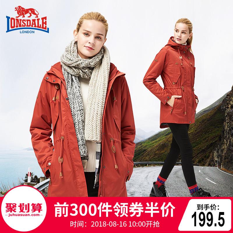 龙狮戴尔户外冲锋衣女三合一中长款两件套冬季加绒加厚外套男潮牌