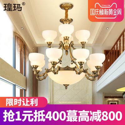 欧式客厅大吊灯复式楼玻璃复古别墅双层楼中楼仿云石大气全铜灯具