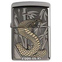 原装正版ZIPPO打火机欧版贴章镀铬拉丝绿眼眼镜蛇1300109