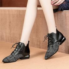 小跟短靴女新款2018秋冬深口单鞋韩版英伦绑带尖头粗跟靴子马丁靴