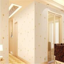 特价pvc墙纸自粘 卧室 温馨壁纸卧室自贴客厅米黄色蒲公英墙纸