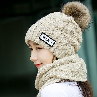 帽子秋冬女甜美可爱潮女士百搭保暖韩版冬季英伦时尚围巾两件套冬