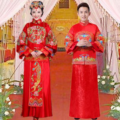 新娘新郎服装中式中国风秀禾服结婚礼服情侣冬季敬酒婚纱复古宫廷
