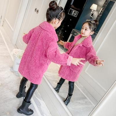 女童冬装外套2018新款儿童羊羔绒秋冬中大童洋气加厚大衣5女孩7岁