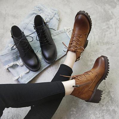 马丁靴女英伦风百搭韩版学生侧拉链粗跟短靴冬季加绒圆头大码女靴