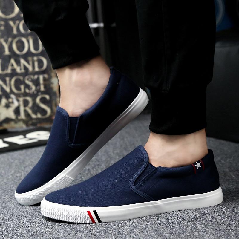 春季男士休闲鞋男鞋一脚蹬鞋懒人帆布鞋男板鞋老北京小白鞋潮鞋子