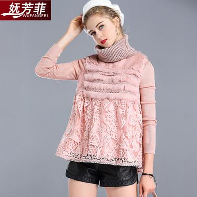 妩芳菲2017秋冬季新款时尚气质蕾丝打底衫长袖高领女士洋气小衫潮