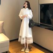 很仙的长裙女秋冬新款韩版中长款气质宽松连帽卫衣网纱拼接连衣裙