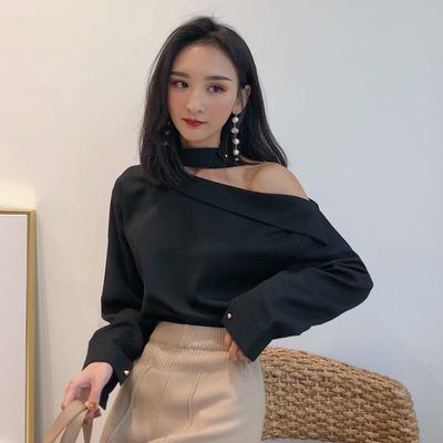 春装新款女装韩版复古挂脖斜肩长袖衬衫气质宽松显瘦露肩白衬衣女