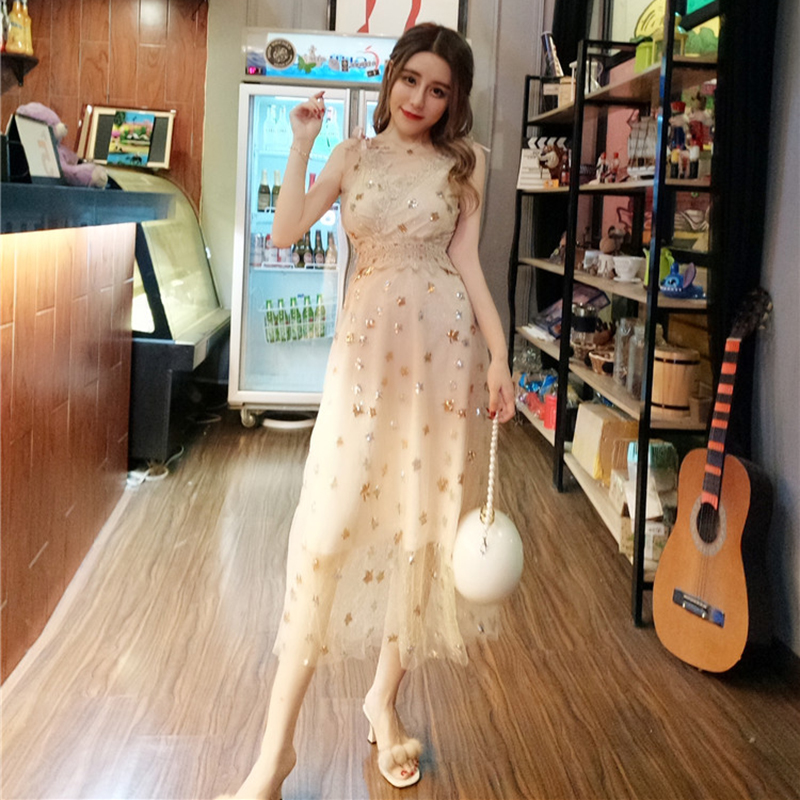 金色亮片长裙