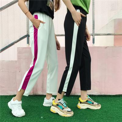 夏季女装新款韩版显瘦高腰休闲哈伦裤学生撞色条纹宽松九分直筒裤