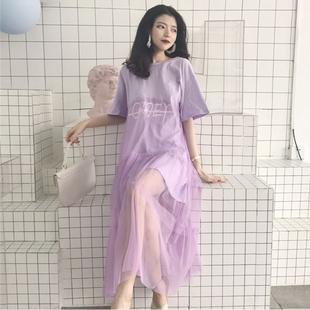 夏装女装新款韩版甜美网纱拼接中长款仙女裙字母短袖T恤连衣裙女