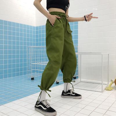 夏季新款女装束脚系带高腰宽松显瘦军绿色学生工装休闲九分哈伦裤