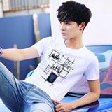 2件】2018新款夏装男士短袖t恤圆领白色潮衣服韩版修身男装半袖Q