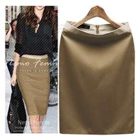 浅棕色高腰裙
