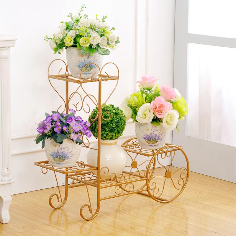 新滢铁艺绿萝花架多层客厅组装欧式花架子阳台室内铁艺花架落地式