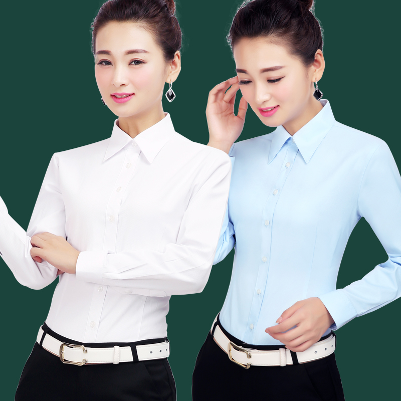 Ladies Professional Long Sleeve White Shirt Business Dress Shirt Workwear OL Interviewer