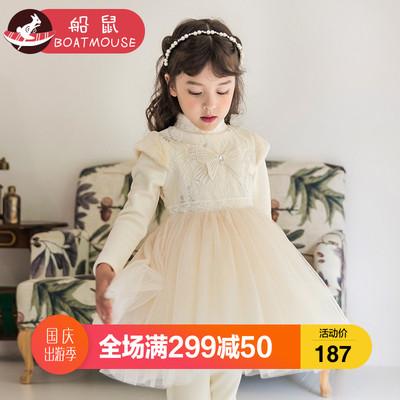船鼠女童连衣裙加绒冬2018新款韩版高领儿童裙子洋气小女孩公主裙