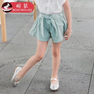 船鼠女童短裤夏季薄款外穿2018新款韩版时尚宽松儿童热裤宝宝裤子