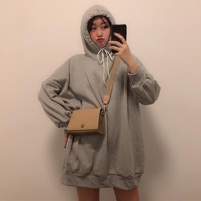 春季女装韩版宽松中长款纯色连帽加绒加厚套头超火卫衣裙上衣外套