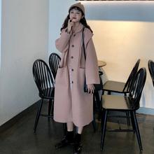 连帽休闲赫本风呢子大衣学生宽松加厚毛呢外套 中长款 秋冬女装 韩版图片