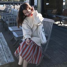 秋冬女装2017新款韩版宽松纯色拼接条纹加绒长袖卫衣连衣裙学生潮