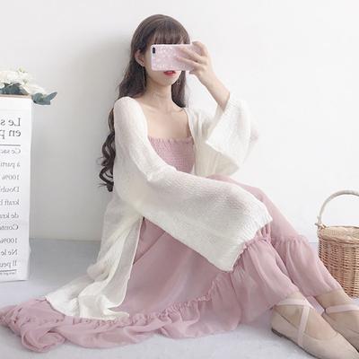 夏装女装韩版中长款宽松百搭薄款空调衫防晒衣针织衫外套开衫上衣