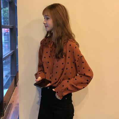 秋季女装韩版气质波点一字领系带长袖衬衫宽松休闲显瘦衬衣上衣潮