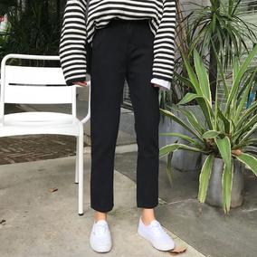 秋装女装新款韩版高腰黑色休闲裤直筒裤九分裤显瘦牛仔裤长裤学生