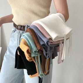 秋装女装韩版修身显瘦双吊带弹力针织衫小背心外穿短款打底衫上衣