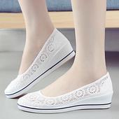 护士鞋夏季女2017新款坡跟平底美容师工作网鞋凉鞋镂空小白鞋透气