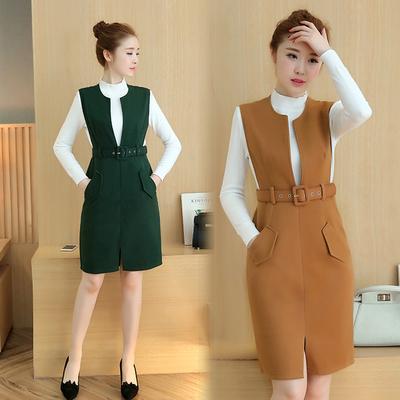 背带两件套秋冬款韩版时尚套装女2017新款中长款毛呢连衣裙冬季群