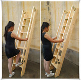 Household wooden ladder indoor simple thick solid wood ascending ladder wooden attic stairs with handrails wood ladder straight ladder