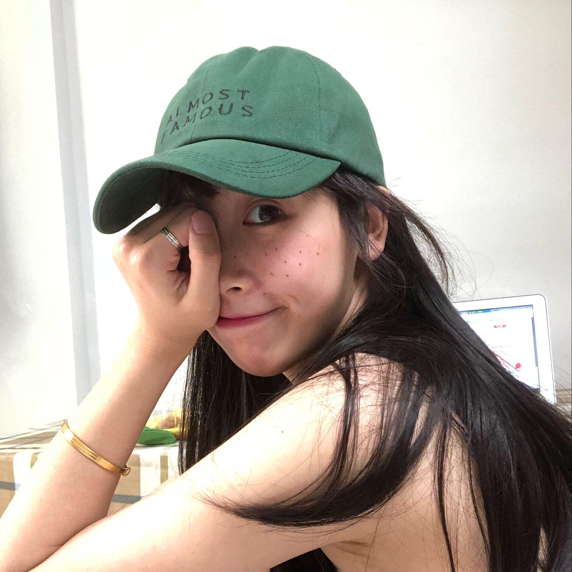 原创自制《成名在望》英文刺绣可调节棉质鸭舌帽棒球帽男女绿帽子