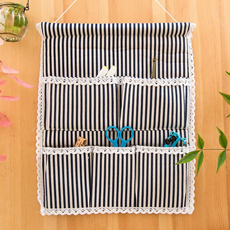 棉麻收纳挂袋悬挂式多层挂兜家居挂墙门后多层布艺带钩储物袋