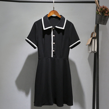 Xiaoxiangfeng dress with Silver Red sleeves in autumn 2019 new black a character shows thin and famous temperament 89419231656