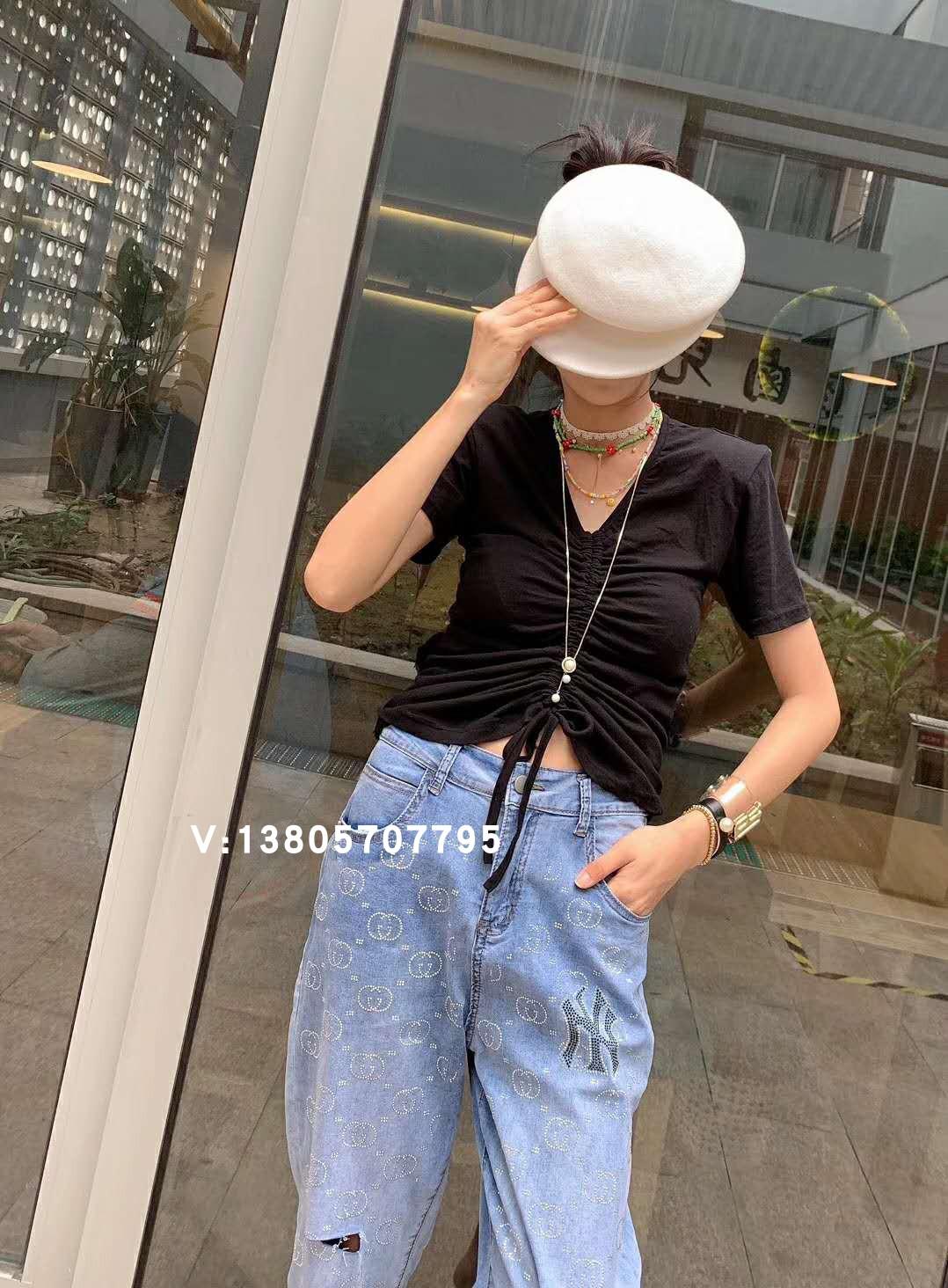 是色卡卡泰货女装2019夏新款V领抽绳系带修身显瘦纯色短袖纯棉t恤