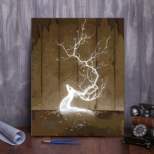 diy数字油画客厅风景花卉动漫人物简单手绘填色油彩装饰画鹿